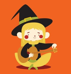 Cute Witch Tuning Acoustic Guitar vector image vector image