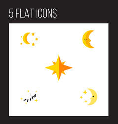 Flat icon night set of bedtime asterisk vector