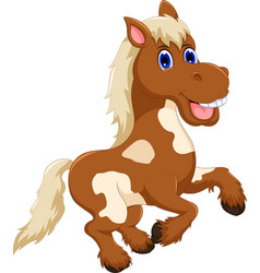 Funny horse cartoon jumping vector