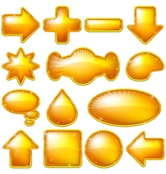 Golden buttons set vector image