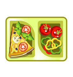 Lunch box with meals of pizza slice and vegetable vector