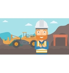 Miner with mining equipment on background vector image vector image