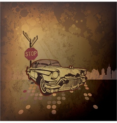 old car with grunge background vector image
