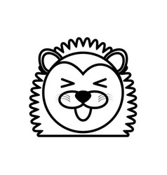outline porcupine head animal vector image vector image