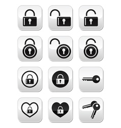 Padlock key buttons set vector image vector image