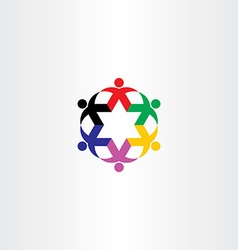 people circle star icon team logo vector image vector image