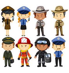 People in different job uniforms vector image vector image
