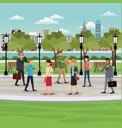 people walking park city background vector image
