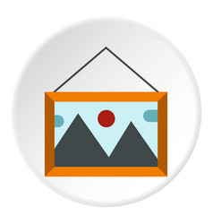 Picture with mountains and sun icon flat style vector