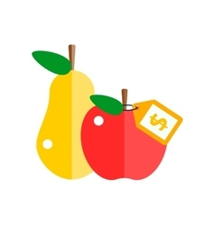 Red apple and pear vector