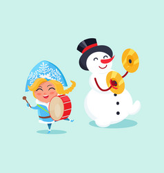 Snow maiden play on drums and snowman on cymbals vector