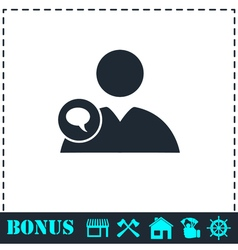 Speaking people icon flat vector