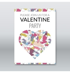 valentine card invitation polygonal style vector image