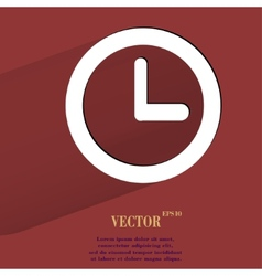 Watch Flat modern web button with long shadow and vector image