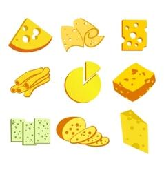 Whole cheese icons vector