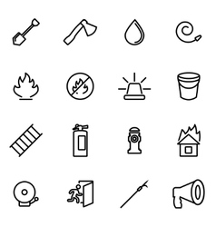 Line firefighter icon set vector