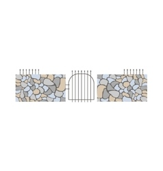 Dry stack wall fence design element template with vector