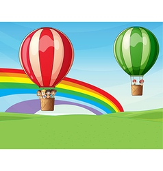Air balloons carrying kids vector