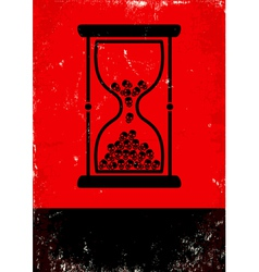 Hourglass with skulls vector