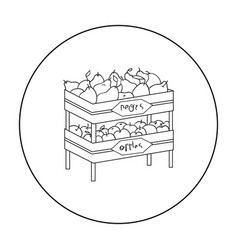 Raw food lying on rack shelves icon in outline vector