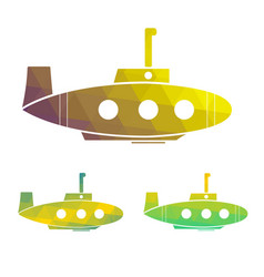 Set of cartoon yellow submarine vector