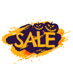 Halloween sale banner with pumpkins vector