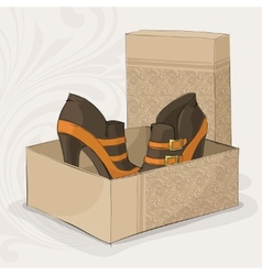 Elegant girls brown and yellow ankle boots vector