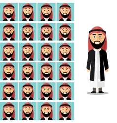 Face emotions of arab man set in flat vector image