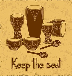 African percussion drum set vector