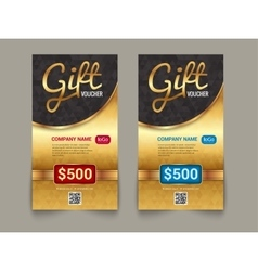 Gift voucher market template with golden tag vector image