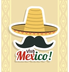 Hat and mustache icon mexico culture vector