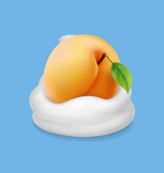 apricot and milk or whipped cream or yogurt vector image