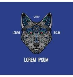 Boho style wolf logo vector