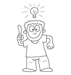 Cartoon man with idea vector image