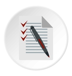 Checklist and pen icon flat style vector