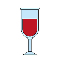 Color image glass cup with red wine vector