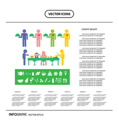 Dinner food and drink info graphic icon vector