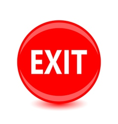 exit red glossy circle icon on white background vector image vector image