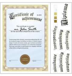 Gold certificate template vertical additional vector