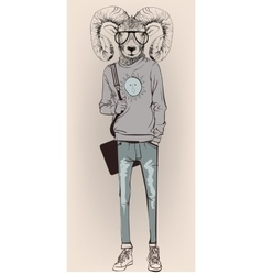 hipster portrait of ram with glasses vector image