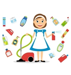 Housewife and home cleaning icons vector image