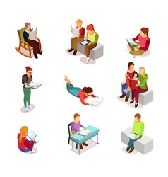 Isometirc reading people icon set vector