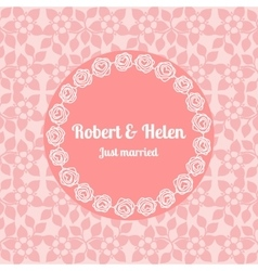 Just married wedding floral card template vector image