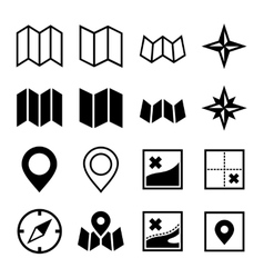 Map and Location Icons on White Background vector image