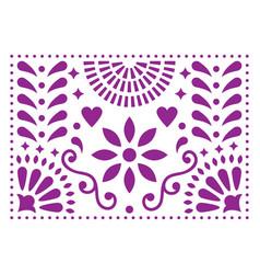 Mexican folk art pattern purple design wit vector