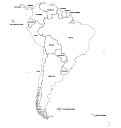 Outline map of the countries of South America vector image vector image