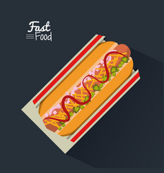 Poster fast food in black background with hotdog vector