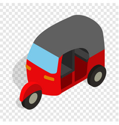 Red tuk tuk isometric icon vector