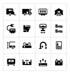 Set icons of camper caravan trailer vector