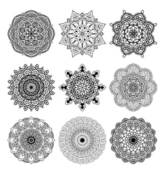 set mandala black vector image